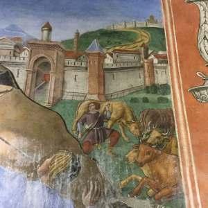L'antica Siponto secondo Antoniazzo, sullo sfondo, Monte Sant'Angelo