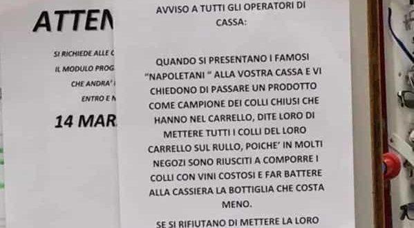 Cartello contro i napoletani al supermercato: scatta la denuncia
