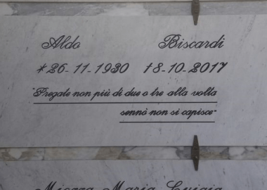 Epitaffio lapide Aldo Biscardi