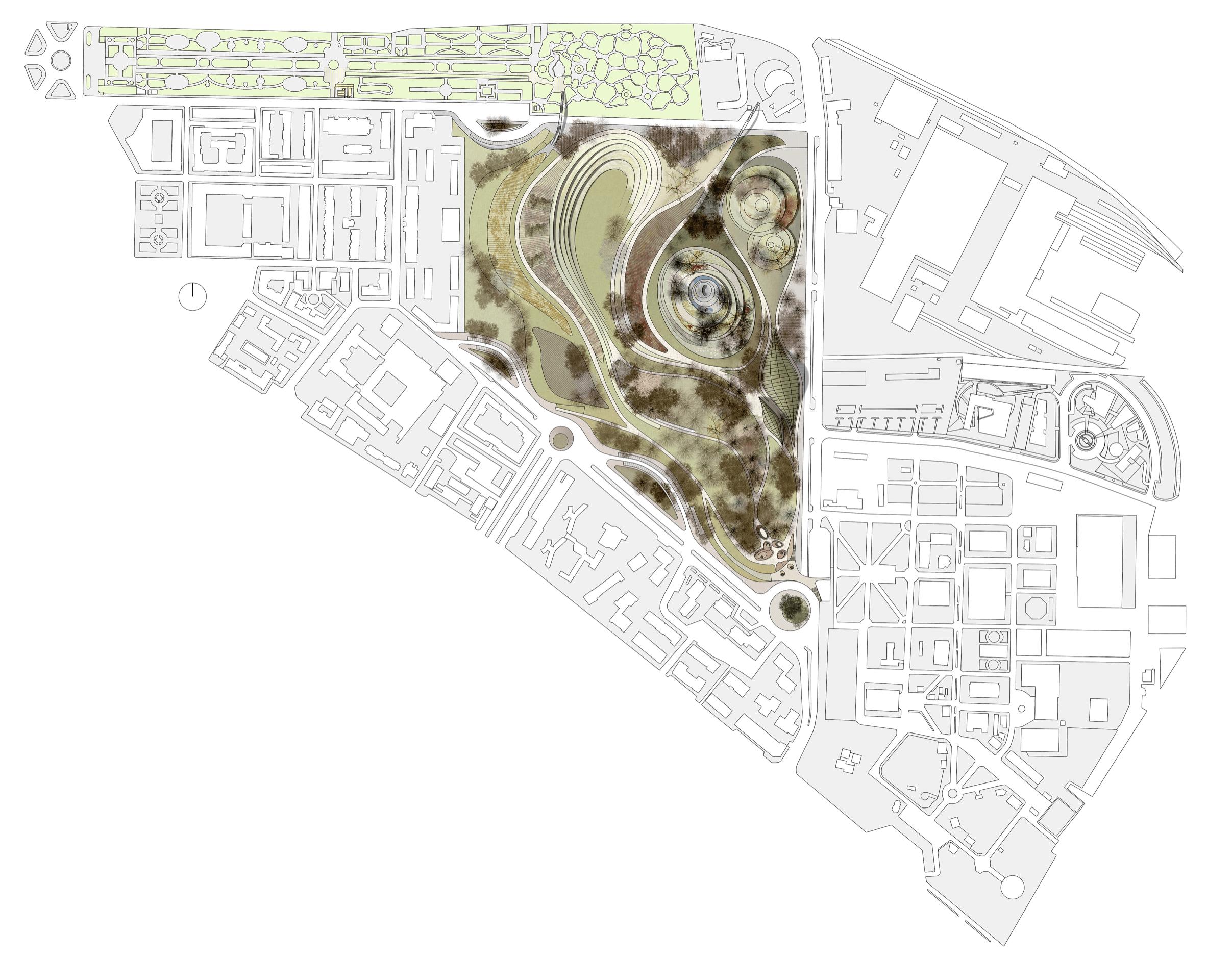 """Una delle tavole del progetto """"Contesti"""", vincitore del concorso internazionale di idee per il Parco urbano e archeologico Campi Diomedei promosso dal Comune di Foggia nel 2008."""